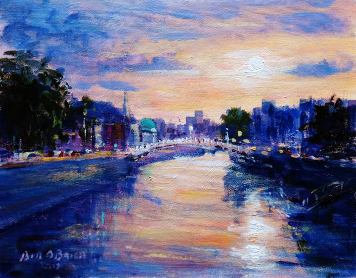 Hapenny Bridge Dublin, Summer Sunsets - Painting,  8x10x0.1 in ©2019 by BILL O'BRIEN -                                            Expressionism, Cityscape, hapenny bridge, liffey, dublin, sunset, irish, painting, original, art, ireland