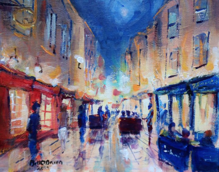 Galway City Nights - Painting,  8x10x0.1 in, ©2019 by Bill O'Brien -                                                                                                                                                                                                                                                                                                                                                                                                                                                                                                                                              Expressionism, expressionism-591, Cityscape, Galway, shop, street, quays, ireland, irish, original, painting