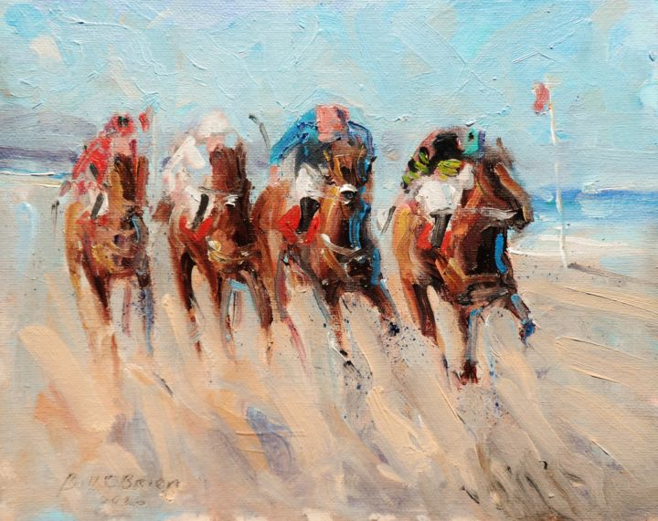 Horse Racing Laytown, Heads Down - Painting,  8x10x0.1 in, ©2020 by BILL O'BRIEN -                                                                                                                                                                                                                                                                                                                                                                                                                                                                                                  Expressionism, expressionism-591, Horses, horse, racing, laytown, irish, oil, painting, bill obrien
