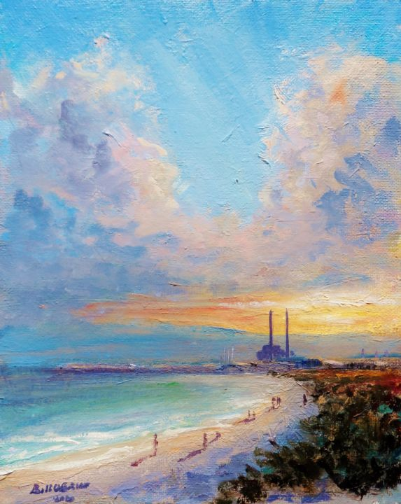 Dusk on Dollymount Sand Dunes - Painting,  10x8x0.1 in, ©2020 by Bill O'Brien -                                                                                                                                                                                                                                                                                                                                                                                                                                                                                                                                                                                          Impressionism, impressionism-603, Landscape, Dusk, dollymount, sand dunes, dublin, clontarf, ireland, irish, oil, painting