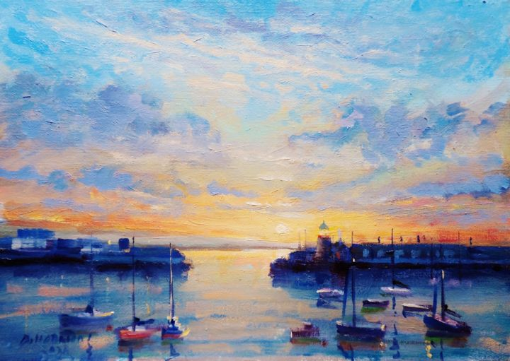 Sunset at Howth Harbour Dublin - Painting,  10x14x0.1 in, ©2020 by Bill O'Brien -                                                                                                                                                                                                                                                                                                                                                                                                                                                                                                                                                                                                                                      Impressionism, impressionism-603, Seascape, Sunset, howth, harbour, dublin, ireland, original, oil, painting, irish, art