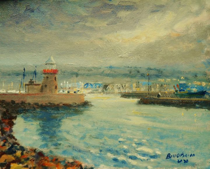 Howth Harbour Lighthouse January afternoon - Painting,  8x10x0.1 in, ©2020 by Bill O'Brien -                                                                                                                                                                                                                                                                                                                                                                                                          Impressionism, impressionism-603, Seascape, howth, harbour, lighthouse, dublin, original oil painting