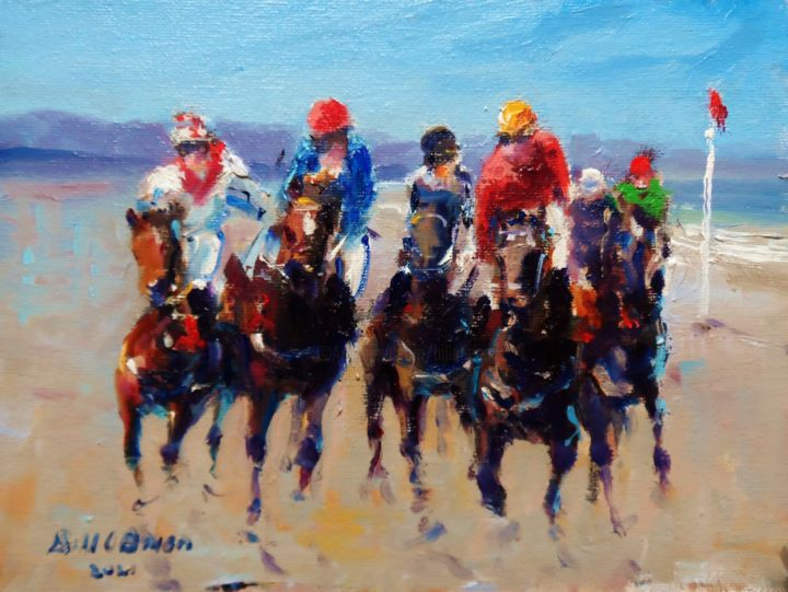 Laytown Horse Racing on Beach - Painting,  7.1x9.5x0.1 in, ©2021 by Bill O'Brien -                                                                                                                                                                                                                                                                                                                                                                                                                                                                                                                                                                                      Expressionism, expressionism-591, laytrown, horse, racing, beach, irish, art, original, oil, painting, bill obrien