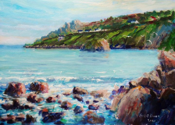 Balscadden Howth Ebb Tide - Painting,  10x14x0.1 in, ©2021 by Bill O'Brien -                                                                                                                                                                                                                                                                                                                                                                                                                                                                                                                                          Impressionism, impressionism-603, Balscadden, Howth, ebb tide, irish, art, original, painting, dublin, seascape