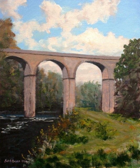 Avonmore Viaduct Rathdrum - Painting,  30x25 cm ©2010 by BILL O'BRIEN -                            Realism, Avonmore Viaduct Rathdrum. Acrilic on canvas board 25x30 cm by Bill OBrien