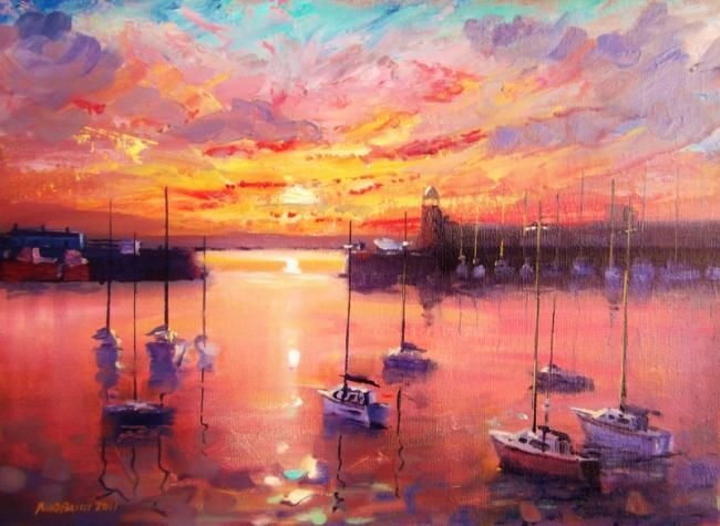 Howth Dawn - Painting,  10x14 in, ©2011 by Bill O'Brien -                                                                                                                                                                          Figurative, figurative-594, Howth Dawn. Oil on canvas panel 14x10 inches by Bill OBrien. Irish Art.