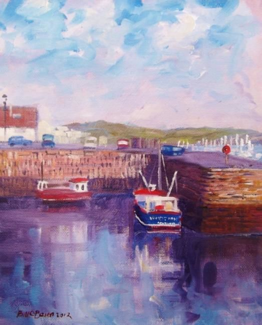 Falmouth Quay Boats - Painting,  10x8 in, ©2012 by BILL O'BRIEN -                                                                                                                                                                          Figurative, figurative-594, Falmouth Quay Boats. Oil on canvas panel 8x10 inches by Bill OBrien. Irish Art.