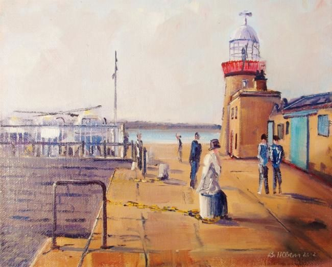 Howth, East Pier - Painting,  8x10 in, ©2012 by Bill O'Brien -                                                                                                                                                                                                                      Figurative, figurative-594, Howth, East Pier. Oil on canvas panel 10x8 inches by Bill OBrien. Irish Art