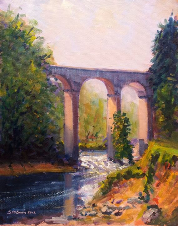 Wicklow, River Avonmore - Painting,  10x8 in, ©2012 by BILL O'BRIEN -                                                                                                                                                                                                                      Figurative, figurative-594, Wicklow, River Avonmore. Oil on canvas panel 8x10 inches by Bill OBrien. Irish Art.