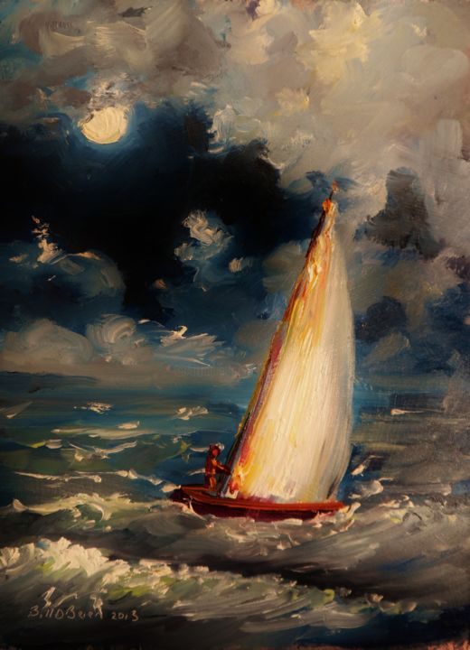 Yacht, Moonlight Crossing - Painting,  8x6 in, ©2013 by Bill O'Brien -                                                                                                                                                                                                                      Abstract, abstract-570, Yacht, Moonlight Crossing. Oil on gesso primed board 6x8 inches by Bill OBrien. Irish Art