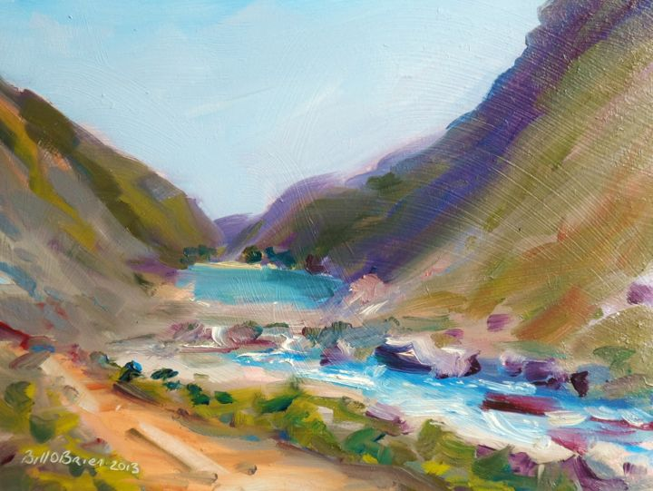 Glendalough Descent Upper Lake - Painting,  6x8 in, ©2013 by BILL O'BRIEN -                                                                                                                                                                          Figurative, figurative-594, Glendalough Descent Upper Lake Wicklow Ireland.. Oil on gesso primed board 8x6 inches approx. by Bill OBrien. Irish Artist