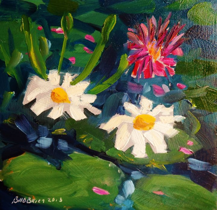 Lily Pond - Painting,  5.8x5.8 in, ©2013 by BILL O'BRIEN -                                                              Lily Pond