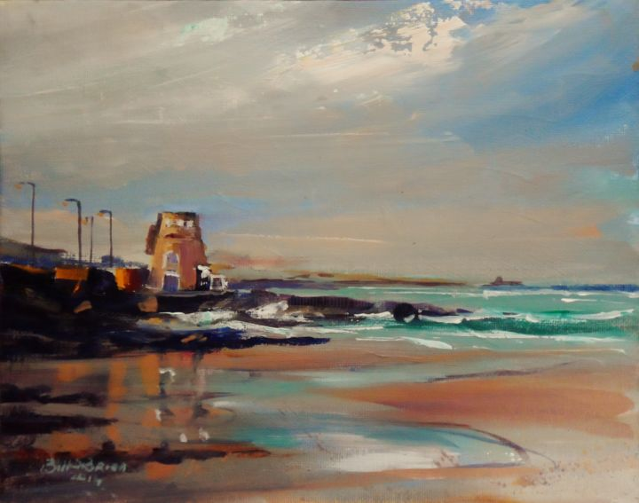 Portmarnock Martello Winter Seas. - Painting,  8x10 in ©2014 by BILL O'BRIEN -                            Figurative Art, Portmarnock, Martello, Winter, Seas, .