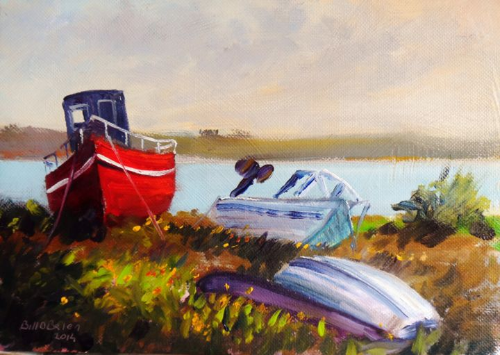 Connemara Roundstone boats - Painting,  14.8x21 cm ©2014 by BILL O'BRIEN -                                                            Realism, Canvas, Boat, roundstone, connemara, boats, harbour