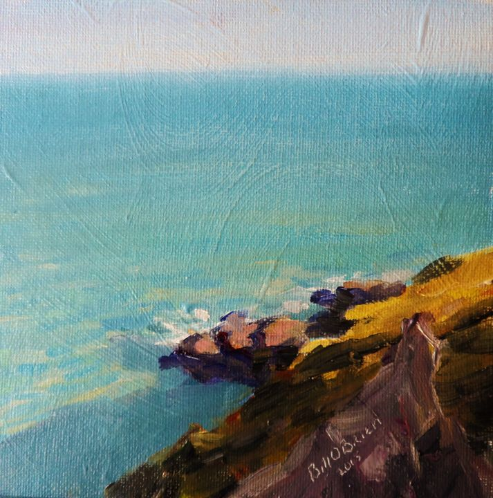 Bray to Greystones Cliff Walk - Painting,  6x6 in, ©2015 by BILL O'BRIEN -                                                                                                                                                                                                                                                                                                                                                                                                          Figurative, figurative-594, Landscape, bray, greystones, cliff walk, walking, wicklow