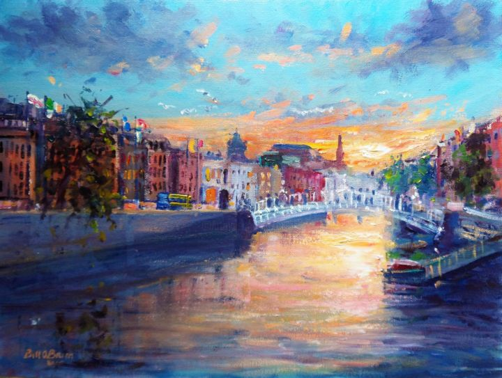 Sunset over the River Liffey Dublin. - Painting,  12x16 in, ©2015 by Bill O'Brien -                                                                                                                                                                                                                                                                                                                                                                                                                                                      Expressionism, expressionism-591, Landscape, sunset, river, liffey, dublin, ireland, irish