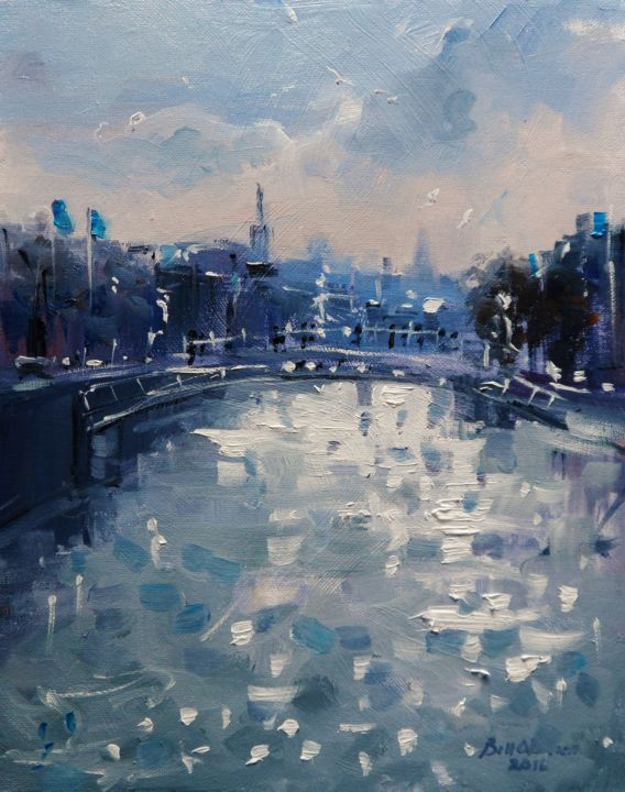 Liffey Dublin Early  Summer - ©  hapenny, bridge, liffey, dublin, summer, oil, painting, original, irish, ireland Online Artworks