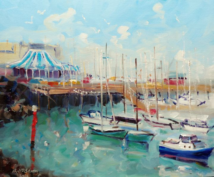 Howth Yacht Club Marina - Painting,  10x12 in ©2016 by BILL O'BRIEN -                                            Expressionism, Seascape, howth yacht club, harbour, marina, yachts, irish, ireland, seascape