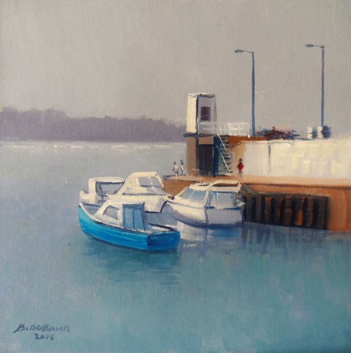 Skerries Harbour County Dublin - Painting,  10x10 in ©2016 by BILL O'BRIEN -                                                            Realism, Canvas, Seascape, skerries, harbour, dublin, ireland, irish art, oil painting