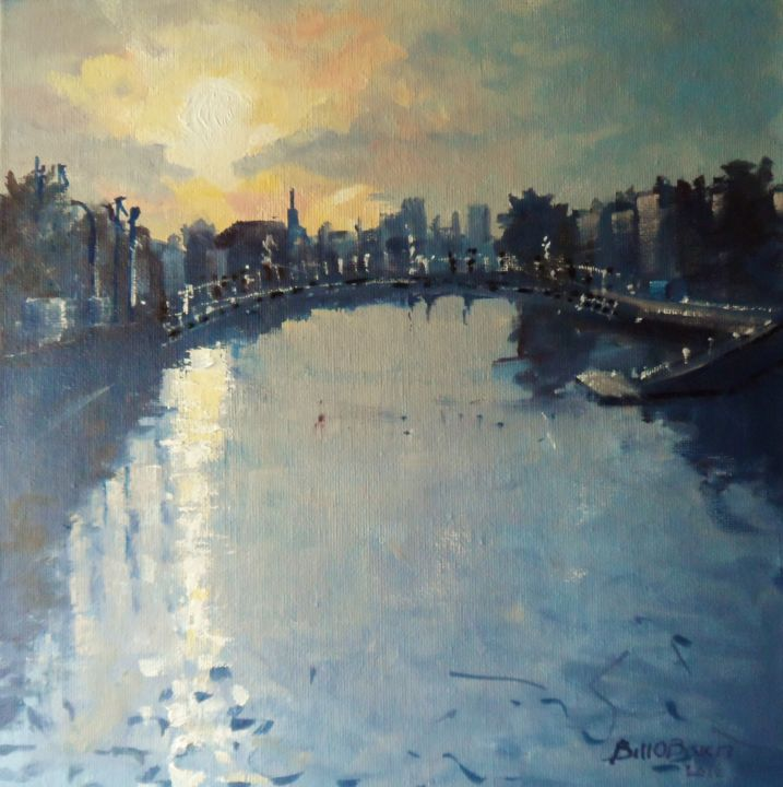 Liffey Dublin towards Hapenny Bridge. - Painting,  10x10 in ©2016 by BILL O'BRIEN -                                                            Impressionism, Canvas, Landscape, liffey, dublin, hapenny bridge, ireland, irish, art, oil painting