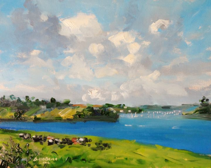 Walking to Helford Passage - ©  walking, helford passage, cornwall, ferryboat inn, oil painting Online Artworks