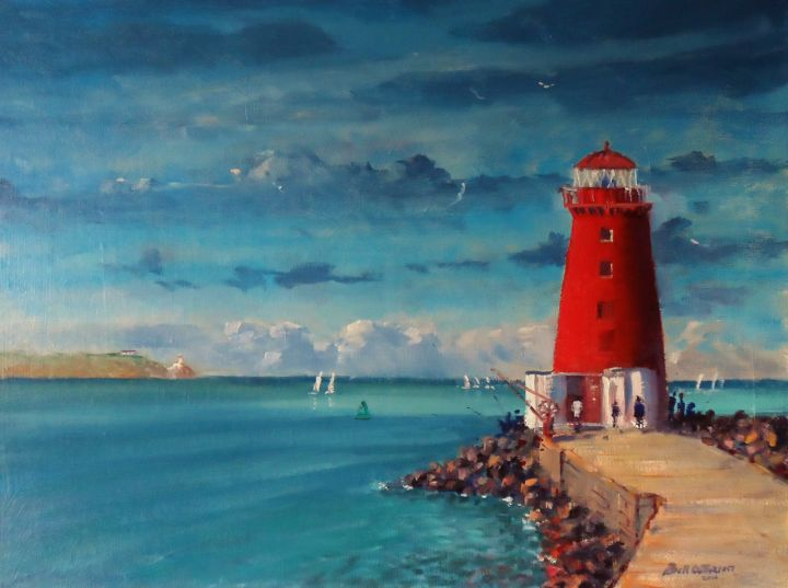 Evening Poolbeg Lighthouse Walk - ©  poolbeg, lighthouse, walk, dublin, ireland, irish, oil, painting Online Artworks