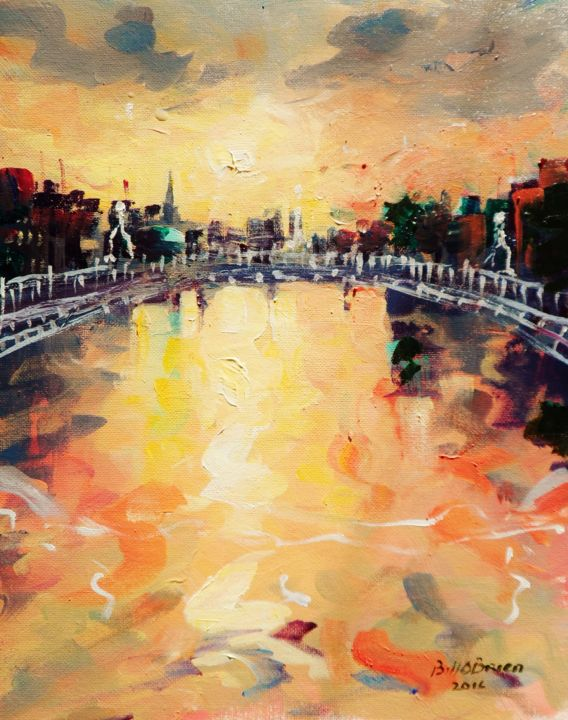 Hapenny Bridge Liffey Autumn Dusk - ©  liffey, dublin, hapenny bridge, temple bar, irish art, painting Online Artworks