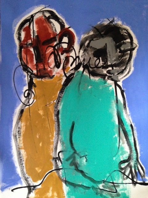 """Painting titled """"Couple"""" by Ellie Ali, Original Art, Acrylic"""