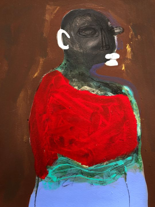 """Painting titled """"woman in red"""" by Ellie Ali, Original Art, Acrylic"""