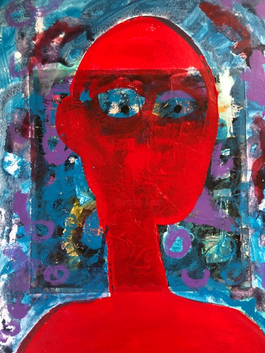 """Painting titled """"Red - collage"""" by Ellie Ali, Original Art, Acrylic"""