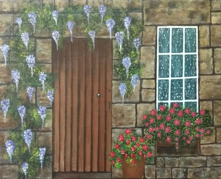 Greenery on Stone Tiles - Painting,  16.1x20.1x0.8 in, ©2018 by Bindiya Goyal -                                                                                                                                                                                                                                                                                                                                                                                                                                                                                                                                                                                                                                                                                                                                                                                                                                                                                                                                                                                                                                                                                                                                                                                                                                                                              Expressionism, expressionism-591, Outer Space, Wall, Flower, Garden, Nature, stone tiles on wall, wooden door, wall, tiles, hanging flowers, vase, modern art, Greenery, art lovers, artists, nature, door, fine art, international artists, peace, window, original artwork, original paintings, contemporary art, conceptual art