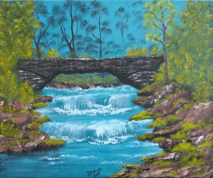 Bridge of positive vibes - Painting,  20.1x24x0.8 in, ©2019 by Bindiya Goyal -                                                                                                                                                                                                                                                                                                                                                                                                                                                                                                                                                                                                                                                                                                                                                                                                                                                                                                                                                                                                                                                                                                                                                                                                                                                                              Conceptual Art, conceptual-art-579, Landscape, Water, Colors, Interiors, Nature, acrylic painting, orginal paintings, handmade paintings, contemporary art, art gallery, waterfall painting, nature painting, artists, impressionism, painting, palette knife, landscape, interiors, wall art, home decor, interior design, art lovers, art buyers, art collectors, art exhibition