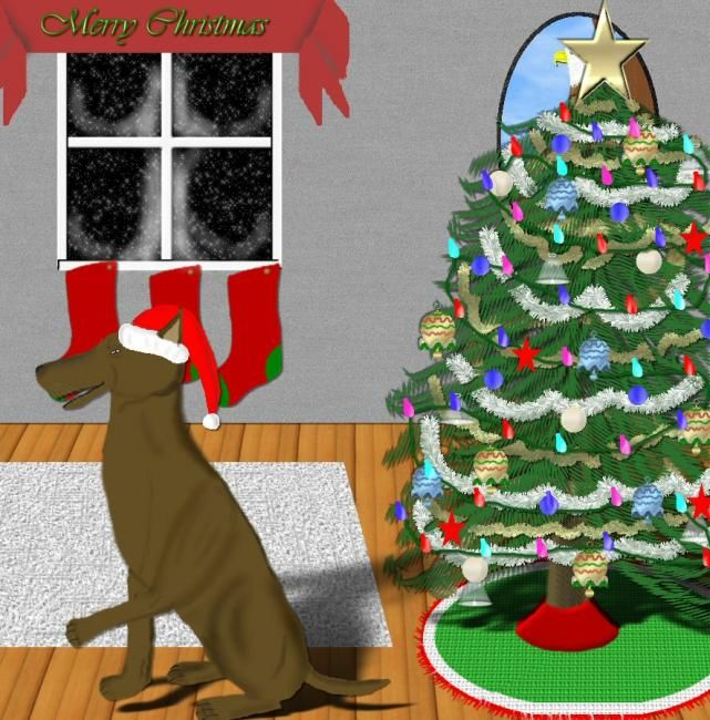 Doggy Christmas - Painting,  10x8 in, ©2006 by Birdman -                                                                                                                                                                                                                                                                  Figurative, figurative-594, dog pet animal canine K9 Christmas holiday, religion December celebrate celebration religious Santa tree, lights decorations
