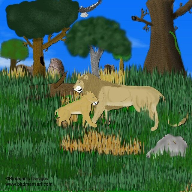 Father & Son - Painting,  10x8 in, ©2007 by Birdman -                                                                                                                                                                          Figurative, figurative-594, lion cub father son animal big cat wildlife nature Africa cultural eagles trees savanna wilderness