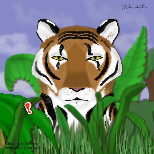 Tiger Peek a boo - Painting,  10x8 in, ©2007 by Birdman -                                                                                                                                                                          Figurative, figurative-594, tigers feline endangered species cats big cats Asian cats Asia wildlife wild animals nature butterfly kitty cat art