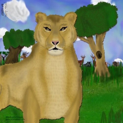 Queen of Serengeti - Painting,  8x10 in ©2007 by Birdman -                            Realism, lioness big cats feline kitty Africa gazelle elephants savanna nature wildlife animals predator endangered species gnu water buffalo grass trees