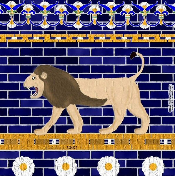 Istar Gate's Lion Wall - Painting,  10x8 in, ©2007 by Birdman -                                                                                                              World Culture, Ishtar Gate Babylon ancient Iraq lion asian lion big cat endangered species flowers brick building