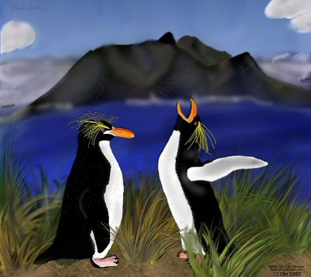 The Rising Hope - Painting,  8x10 in, ©2007 by Birdman -                                                                                                                                                                          Figurative, figurative-594, animals nature birds penguins macaroni penguins wildlife island endangered species ocean landscape