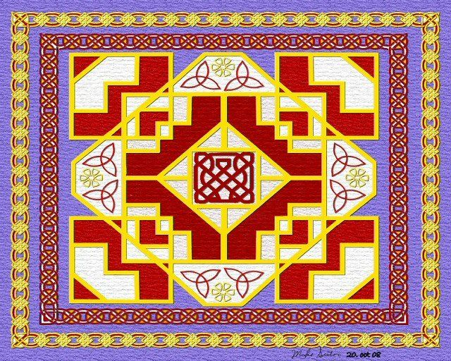 Celtic Steps - Painting,  8x10 in, ©2008 by Birdman -                                                              Celtic knot pattern steps blue red gold pagan Irish cultural old world