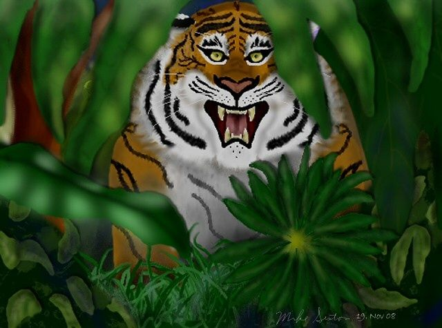 In the Shadows - Painting,  8x10 in, ©2008 by Birdman -                                                                                                                                                                          Figurative, figurative-594, tigers