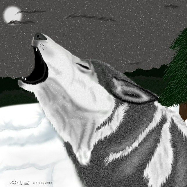 Calling for Family - Painting,  8x10 in ©2011 by Birdman -                            Realism, Wolf howling at a full moon