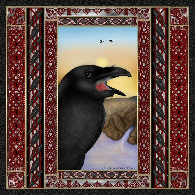 A Raven Sunrise Knot - Painting,  10x8 in ©2011 by Birdman -                            Realism, Painting of a raven at sunrise in a Celtic Knot