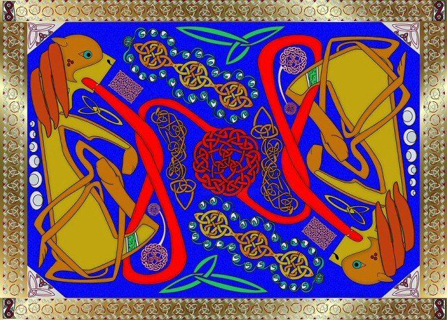 Celtic Royalty Knot - Painting,  10x8 in ©2011 by Birdman -            Celtic lions knot painting
