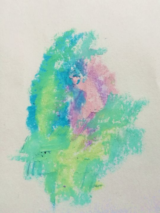 Falls - Disegno,  2,6x2 in, ©2019 da Teodora Bisenic -                                                                                                                                                                                                                                                                                                                                                                                                                                                                                                                                                                                                                                                                                                                                                                          Abstract, abstract-570, Arte astratta, Colori, Luce, pastel, color, small, miniature, colours, essence, fall, abstract, feelings, hidden, light