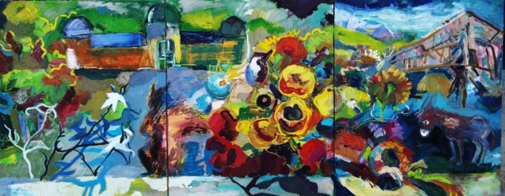 """Painting titled """"Тriptych """"Тhe color…"""" by Nikolay Hristozov, Original Art, Oil"""