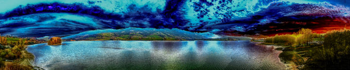 "LES SOURCILS DU CIEL "" LES SOURCIELS..."" - Photography, ©2019 by Blaise Lavenex -                                                                                                                                                                                                                                                                                                                                                                                                                                                                                                                                                                                                                                                                                                                                                                                                                                              Seascape, photographie, panorama, lac, colline, ciel, sourcils, arbres, île, reflet, planète, la terre, espace, astronome, lumière, préhistoire, les arbres, visage"