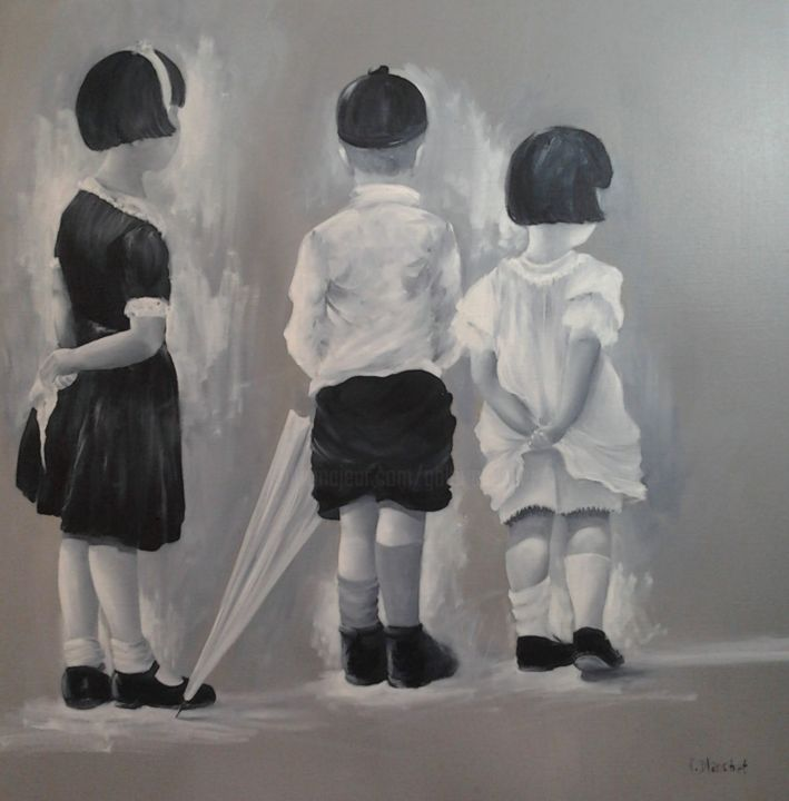 enfants sages - Peinture,  31,5x31,5 in, ©2012 par Patricia Blanchet -                                                                                                                                                                                                                          Figurative, figurative-594, artwork_cat.Kids, enfants