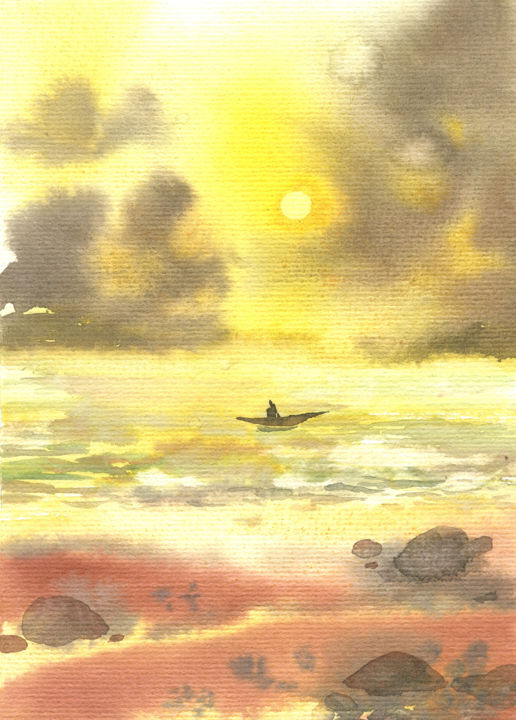 """Painting titled """"Memories of the sea"""" by Veronika Shepilova (Blueberry Artist), Original Art, Watercolor"""