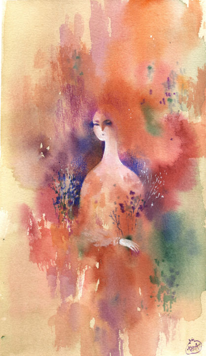 """Painting titled """"Girl with flowers"""" by Veronika Shepilova (Blueberry Artist), Original Art, Watercolor"""