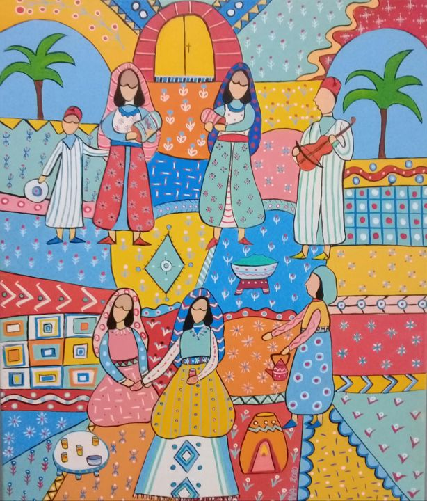 Le henné 50x60 acrylique - Peinture,  23,6x19,7x0,8 in, ©2020 par L'Atelier De Sana -                                                                                                                                                                                                                                                                                                                                                              Naive Art, naive-art-948, artwork_cat.Love/Romance, artwork_cat.Performing Arts, Cultures du monde, maroc, berbere